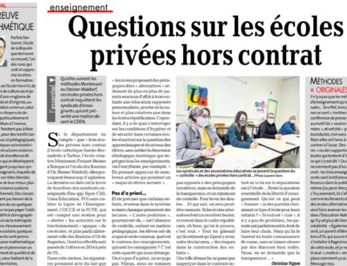 """Dans la presse : """"Questions sur les écoles hors-contrat"""""""