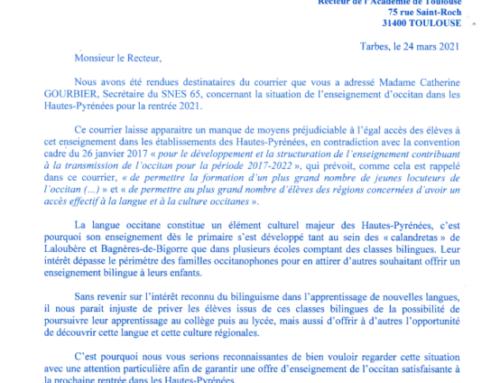 Enseignement de la langue occitane dans les Hautes-Pyrénées à la rentrée 2021